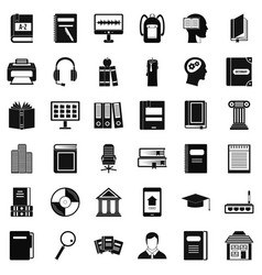 bookshelf icons set simple style vector image