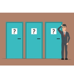 Businessman standing beside three doors unable to vector