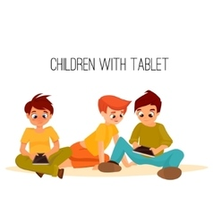 Children girls of different ages played in tablet vector image vector image