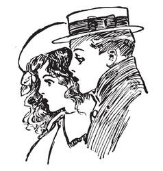 Children in profile have boy vintage engraving vector
