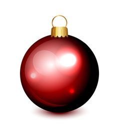 christmas ball red isolated vector image