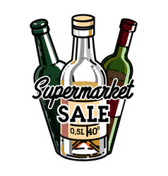 color vintage supermarket sale emblem vector image vector image