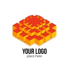 Colorful 3d isometric isolated shape for geometric vector