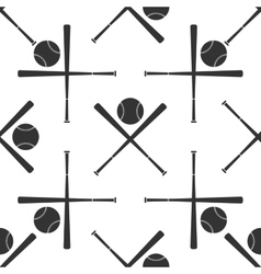 Crossed baseball bats and ball icon pattern vector