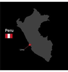 Detailed map of Peru and capital city Lima with vector image