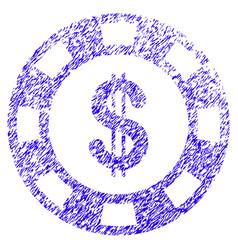 Dollar casino chip icon grunge watermark vector