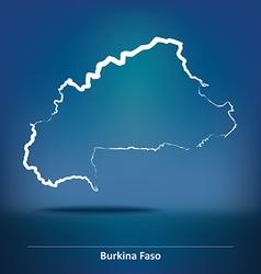 Doodle Map of Burkina Faso vector image vector image