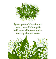 Easter holiday lily flower greeting card design vector