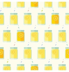 Flat seamless pattern with mason jar vector image