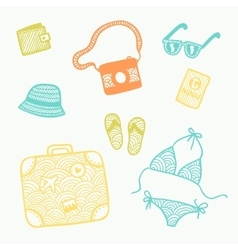 Hand drawn doodle travel set vector