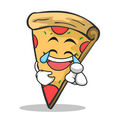 joy face pizza character cartoon vector image vector image