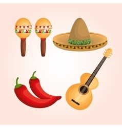Mexican culture set icons vector