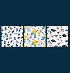 scandinavian seamless patterns set vector image vector image