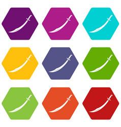 Scimitar sword icon set color hexahedron vector