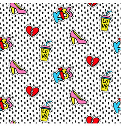Seamless pattern with fashionable patches vector