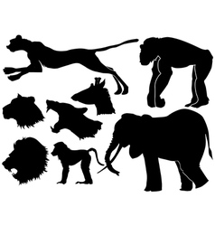 Set of silhouettes of african animals vector