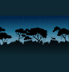 Silhouette tree on the forest scenery vector