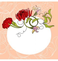 white frame with red flowers vector image vector image