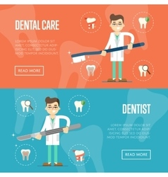 Dental website templates with male dentist vector