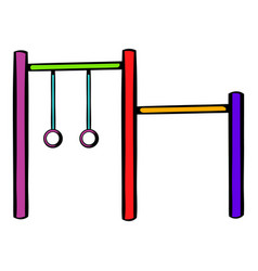 Horizontal bar with climbing rings icon vector
