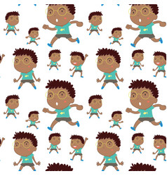Seamless background design with boy wearing vector
