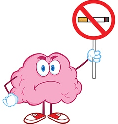 Angry brain holding up a no smoking sign vector