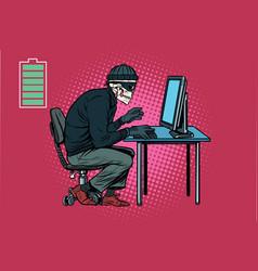 Dead skeleton hacker hacked computer vector