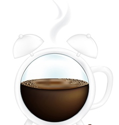 Coffee cup alarm clock vector