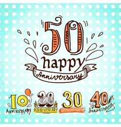 Anniversary signs set vector