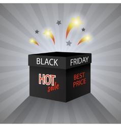 Black friday sale box on grey background vector image