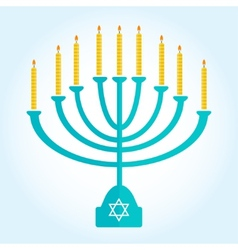 Jewish holiday hanukkah background with burning vector