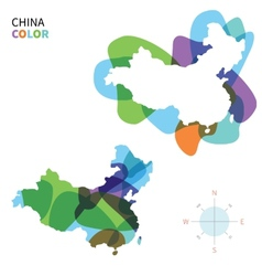 Abstract color map of china vector
