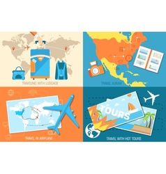 Tour of the world banners concept tourism with vector