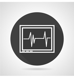Cardiogram black round icon vector