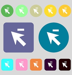 Cursor arrow minus icon sign 12 colored buttons vector