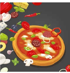 Whole pizza and the ingredients vector