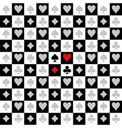 Card suit chess board black white background vector