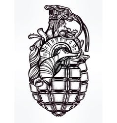 Hand drawn design of heart grenade vector