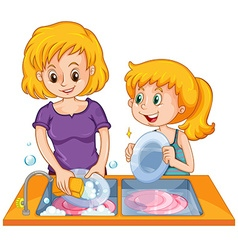 Girl helping mom doing the dishes vector