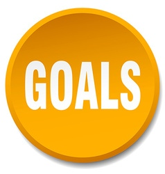 Goals orange round flat isolated push button vector