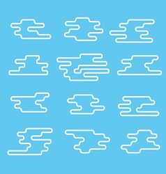 Different abstract lineart clouds collection flat vector