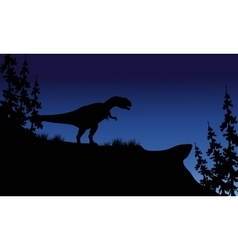 At night silhouette of allosaurus vector