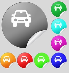 Auto icon sign Set of eight multi-colored round vector image