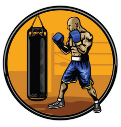 boxing athlete training in the gym vector image vector image