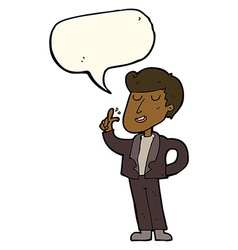 cartoon cool guy snapping fingers with speech vector image vector image