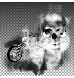 chopper motorbike with skull in smoke vector image vector image