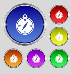 Compass icon sign round symbol on bright colourful vector