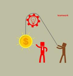 Concept of teamwork - a man holds up a brain on a vector