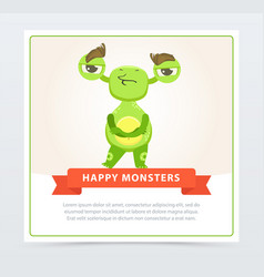cute skeptical funny green monster standing with vector image vector image