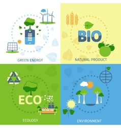 Ecology 4 flat icons composition vector